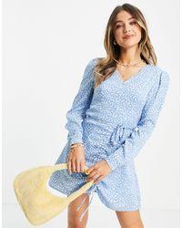 Daisy Street Платье Мини Со Сборками Спереди, Длинными Рукавами И Мелким Цветочным Принтом -голубой - Синий