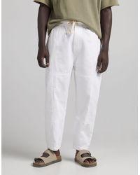 Bershka Белые Фактурные Oversized-брюки -белый