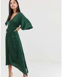 AX Paris Lange Kimonojurk Van Satijn - Groen