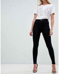 """ASOS - """"Sculpt me"""" - Jeans premium vita alta nero pulito - Lyst"""
