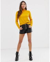 Muubaa Linaria High Waisted Leather Shorts - Black