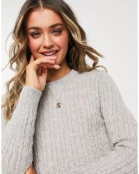 Jack Wills Icon Cable Sweater - Grey