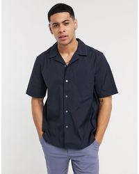 Calvin Klein Рубашка С Короткими Рукавами И Отложным Воротником -темно-синий