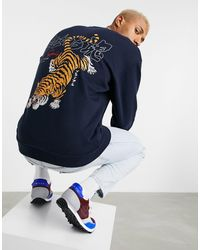 ASOS Oversized Sweatshirt Met Grote Tijgerprint Op - Blauw