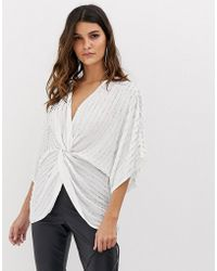 ASOS Knot Front Kimono Top In Sequin - White