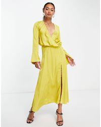 ASOS Bias Cut Drape Midi Dress With Button Detail - Yellow