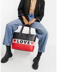 Love Moschino Красно-черная Сумка-шоппер С Отделкой Цвета Слоновой Кости Share The Love-черный Цвет
