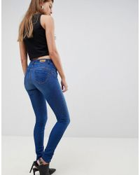 Salsa Push-up Skinny Jeans Met Normale Taille - Blauw