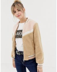 New Look - Teddy Bomber Jacket In Color Block - Lyst