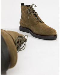 H by Hudson - Battle Lace Up Boots In Khaki Suede - Lyst