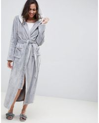 ASOS Supersoft Fleece Midi Robe With Contrast Lining - Gray