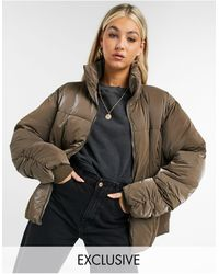 Collusion Iridescent Puffer With Ruched Seam Detail - Brown