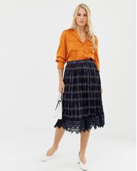 Liquorish - Pleated Mid Skirt In Check Print With Lace Trim - Lyst