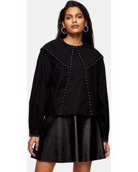 TOPSHOP Studded Collar Blouse - Black