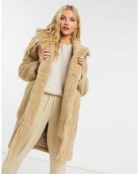 New Look Longline Teddy Borg Coat - Natural