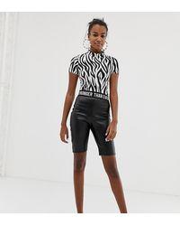 Bershka Faux Leather legging Short With Printed Waistband - Black