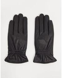 Barneys Originals Черные Кожаные Перчатки С Эластичными Манжетами Barney's Originals-черный