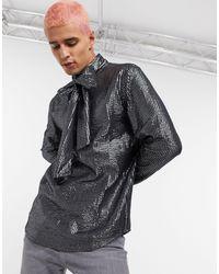 ASOS Metallic Gestreept Overhemd Met Grote Strik