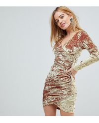 e888165105c5 Flounce London Sequin Mini Dress With Shoulder Pads In Gold in Metallic -  Lyst