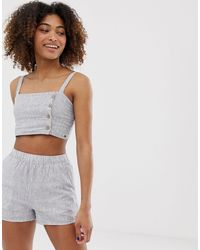 Pull&Bear Pacific Striped Crop Top Co Ord - Blue