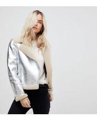 Vero Moda - High Shine Metallic Aviator Jacket - Lyst