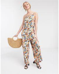 Warehouse Daisy Floral Print Whide Leg Jumpsuit - Multicolour