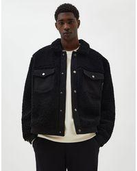 Pull&Bear Черная Куртка Из Искусственного Меха -черный Цвет