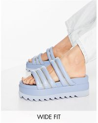 ASOS Wide Fit Thea Padded Flatform Mules - Blue