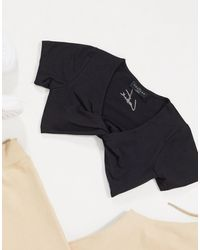 The Couture Club Loungewear Twist Front Crop Top - Black