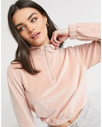 ONLY – Kurz geschnittenes Sweatshirt mit halbem Reißverschluss - Pink