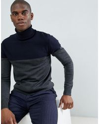 French Connection Contrast Color Block 100% Cotton Roll Neck Sweater - Blue