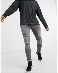 Bershka Super Skinny Fit Jeans With Rips - Gray