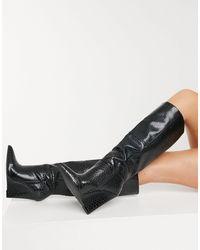 ASOS Cody - Knielaarzen Met Sleehak - Zwart