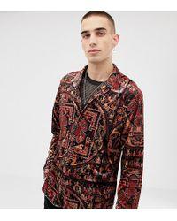 Heart & Dagger Velour All Over Print Shirt In Long Sleeve - Multicolour