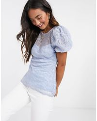 River Island Lace Puff Sleeve Top - Blue