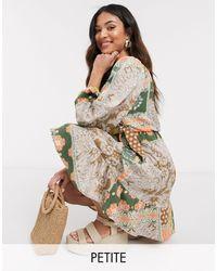 Y.A.S Petite Wrap Mini Dress - Multicolour
