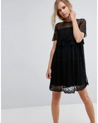 Lost Ink - Smock Dress With Stars - Lyst