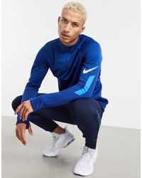 Nike Football - Therma Shield - Top blu con zip corta - Metallizzato