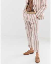 ASOS - Skinny Suit Trousers In Cream Linen Stripe - Lyst