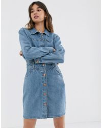 Wrangler Button Through Denim Dress With Seam Detail - Blue