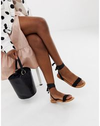 ASOS Flawless Tie Leg Flat Sandals - Black