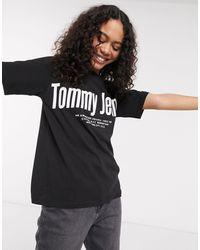 Tommy Hilfiger T-shirt avec logo en diagonale - Noir