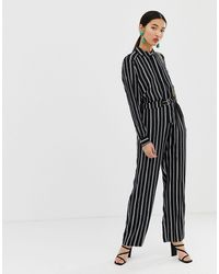 Warehouse Jumpsuit In Stripe - Black
