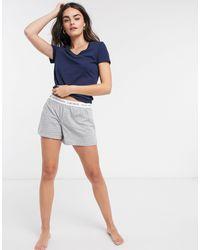 Lauren by Ralph Lauren Logo Banded Lounge Shorts - Grey