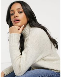 New Look High Neck Knitted Sweater - Natural