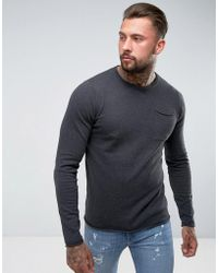 D-Struct - Knitwear Fine Gauge Crew Neck Knit With Pocket - Lyst