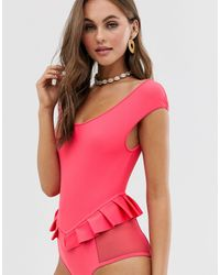 Lost Ink Pleated Bardot Swimsuit - Pink