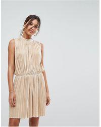Aeryne Sleeveless Velvet Pleated Dress - Metallic