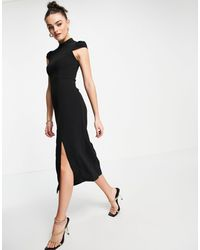 Whistles High Neck Textured Dress - Black