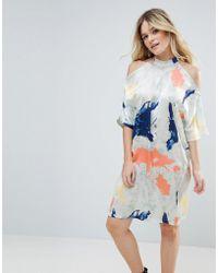 Liquorish - Satin Cold Shoulder Print Dress - Lyst